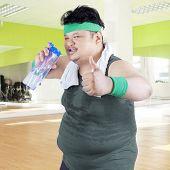 Overweight Man Drinking Water 1