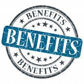 Benefits Blue Grunge Textured Vintage Isolated Stamp