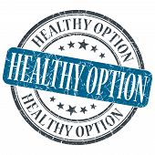 Healthy Option Blue Grunge Textured Vintage Isolated Stamp