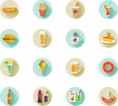 Set of fast food icons on web buttons