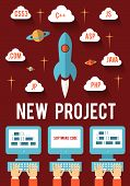 stock photo of lifting-off  - Concept of new business project startup development for Web and Mobile - JPG