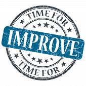 Time For Improve Blue Grunge Textured Vintage Isolated Stamp