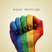 text equal marriage and a man hand patterned with the rainbow flag on a beige background
