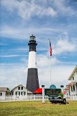 Tybee Island Lighthouse And American Flag