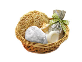 pic of gift basket  - Basket with  spa elements isolated on white - JPG