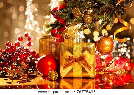 christmas gift box and baubles christmas and new year celebration decorated christmas tree with - Decorative Christmas Gift Boxes