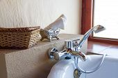 picture of tub  - Luxury bath tub in a bathroom with towels - JPG