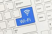 White Conceptual Keyboard - Wi-fi (blue Key)