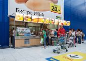 Samara, Russia - September 6, 2014: Bistro Cafe In Ikea Samara Store. Ikea Is The World's Largest Fu