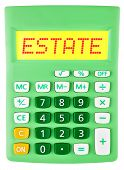 Calculator With Estate On Display Isolated