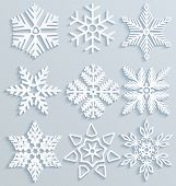 Snow Decorations. Set Of Paper Snowflakes