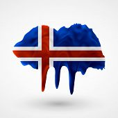 Flag of Iceland painted colors