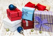 Christmas Baubles  With Heap Of Gift Boxes