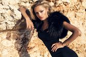 Fashion Portrait Ob Beautiful Girl With Blond Hair In Elegant Dress And Fur