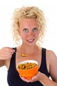 Young Woman Showing Cornflakes
