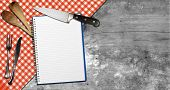 Empty Notebook On Wooden Background