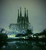 Barcelona, Spain - November 22, 2014: La Sagrada Familia Cathedral At Night