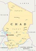 image of chad  - Chad Political Map with capital N - JPG
