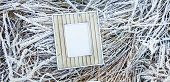 Old Wooden Frame Over Frozen Grass.