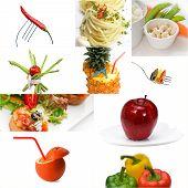Organic Vegetarian Vegan Food Collage  Bright Mood