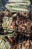 pic of marinade  - The marinaded chicken fried on coals on a lattice - JPG