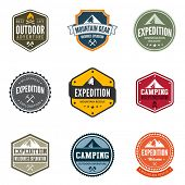 stock photo of shapes  - Adventure Tourism Travel Logo Vintage Labels design vector templates - JPG