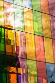 Colored Stained Glass Reflections Of Montreal Convention Center