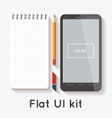 Flat UI kit with notepad and smartphone