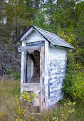 picture of outhouse  - Dilapidated Outhouse in the Rural Wisconsin Countryside - JPG
