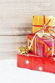 several parcels of gifts for christmas are successive