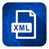 xml file flat icon, christmas button