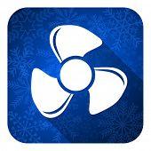 fan flat icon, christmas button