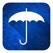 umbrella flat icon, christmas button, protection sign