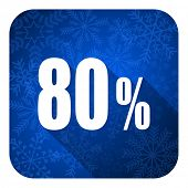 80 percent flat icon, christmas button, sale sign