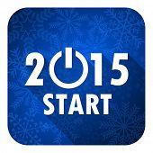 new year 2015 flat icon, christmas button, new years symbol