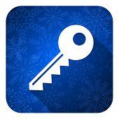 key flat icon, christmas button