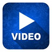 video flat icon, christmas button