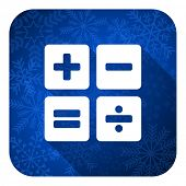 calculator flat icon, christmas button, calc sign