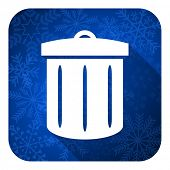 recycle flat icon, christmas button, recycle bin sign