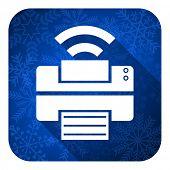printer flat icon, christmas button, wireless print sign