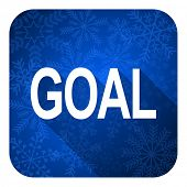 goal flat icon, christmas button