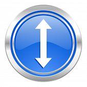 arrow icon, blue button