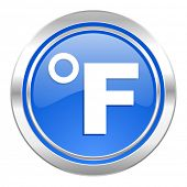 fahrenheit icon, blue button, temperature unit sign