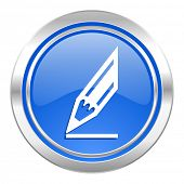pencil icon, blue button, draw sign