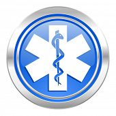 emergency icon, blue button, hospital sign