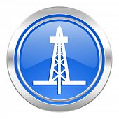 drilling icon, blue button