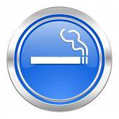 cigarette icon, blue button, nicotine sign
