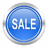 sale icon, blue button