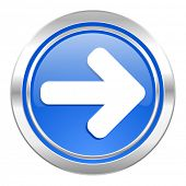 right arrow icon, blue button, arrow sign