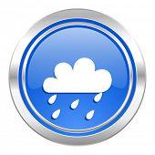 rain icon, blue button, waether forecast sign